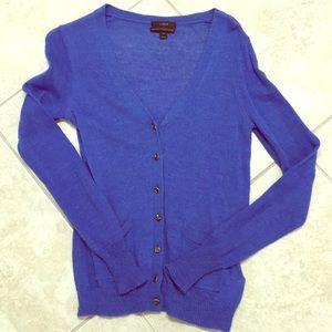 JCrew Crystal Button Down Blue Sweater Sz.S